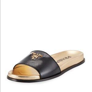 Prada Saffiano black leather pool slides sandals